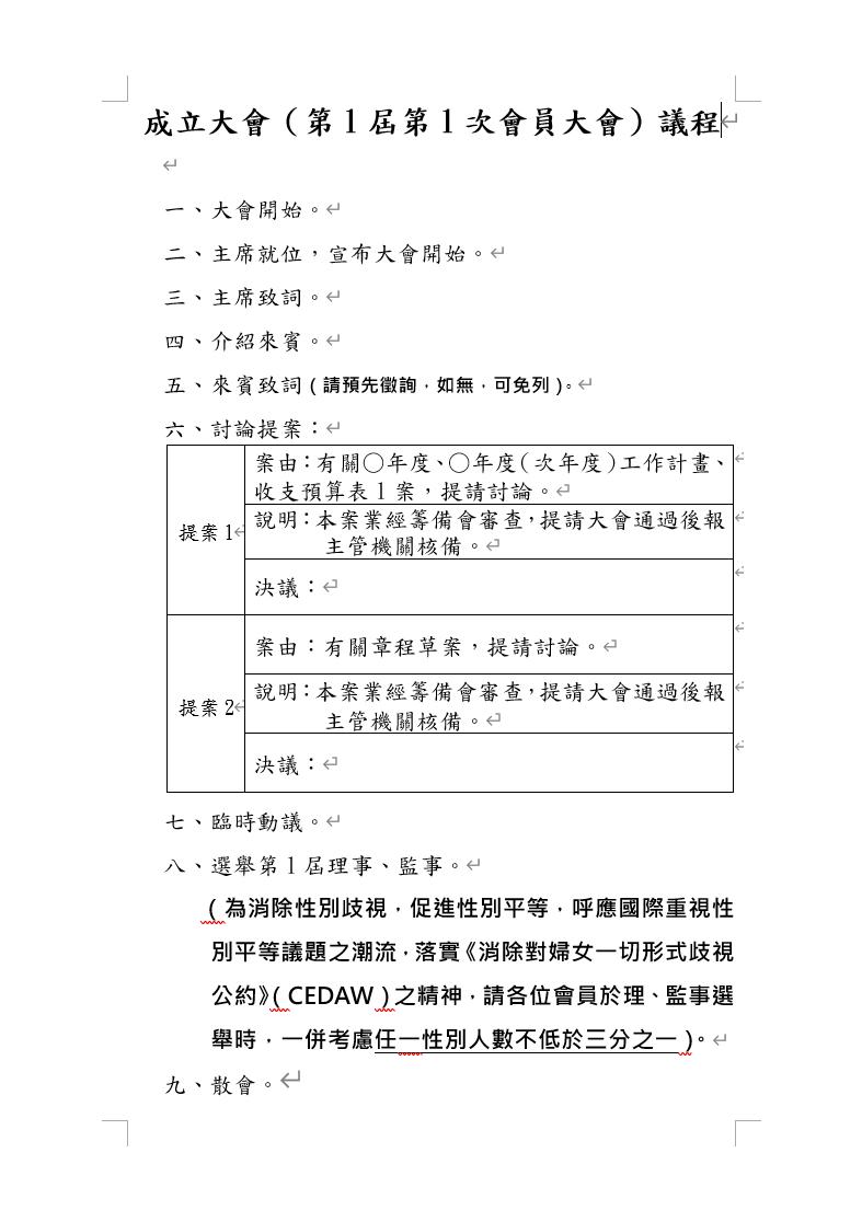 成立大會(第1屆第1次會員大會)議程